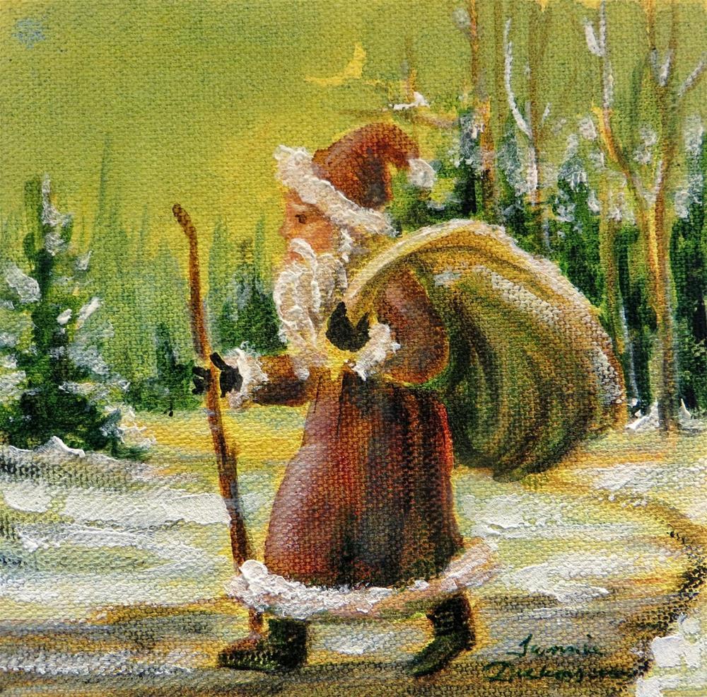 """Walking Santa - miniature"" original fine art by Tammie Dickerson"
