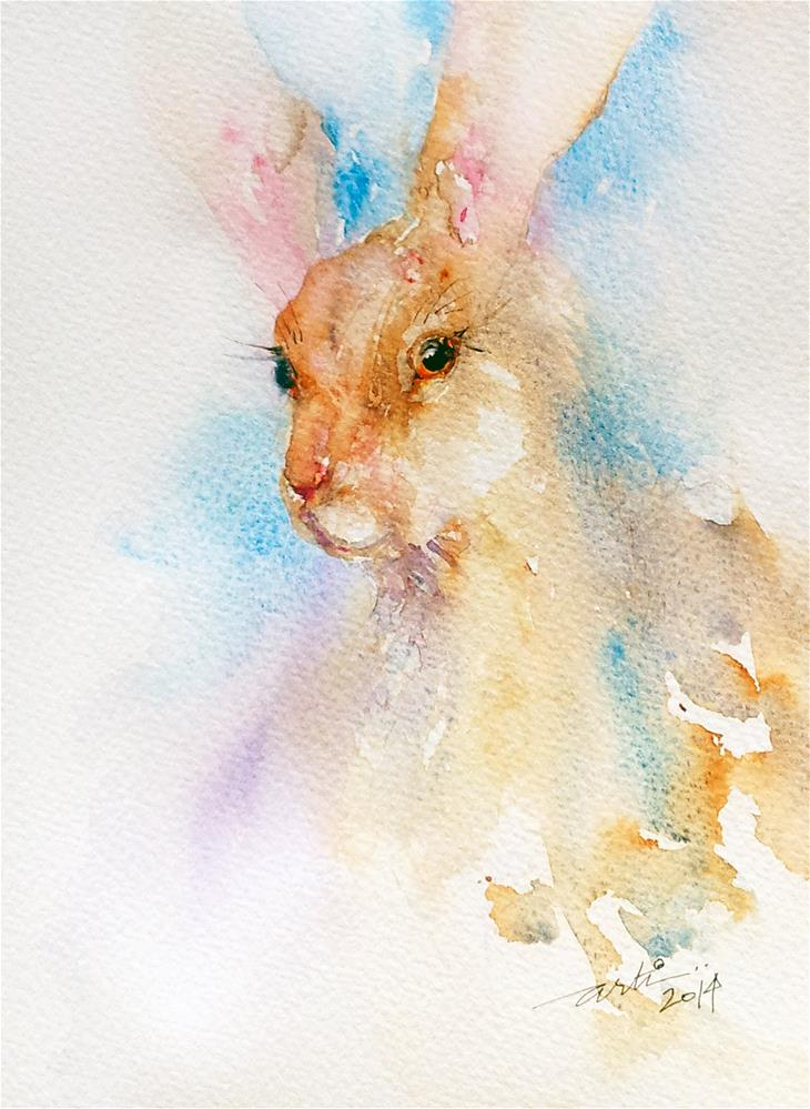 """""""Red Nose Hare"""" original fine art by Arti Chauhan"""