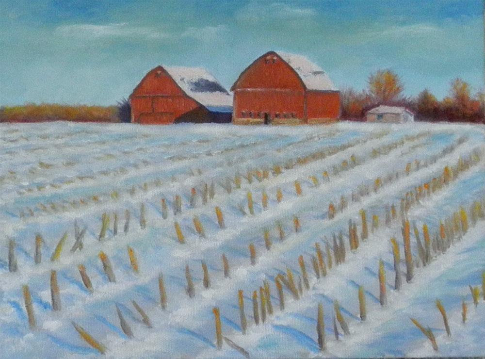 """""""Corn Field in Snow"""" original fine art by Kirk Kerndl"""