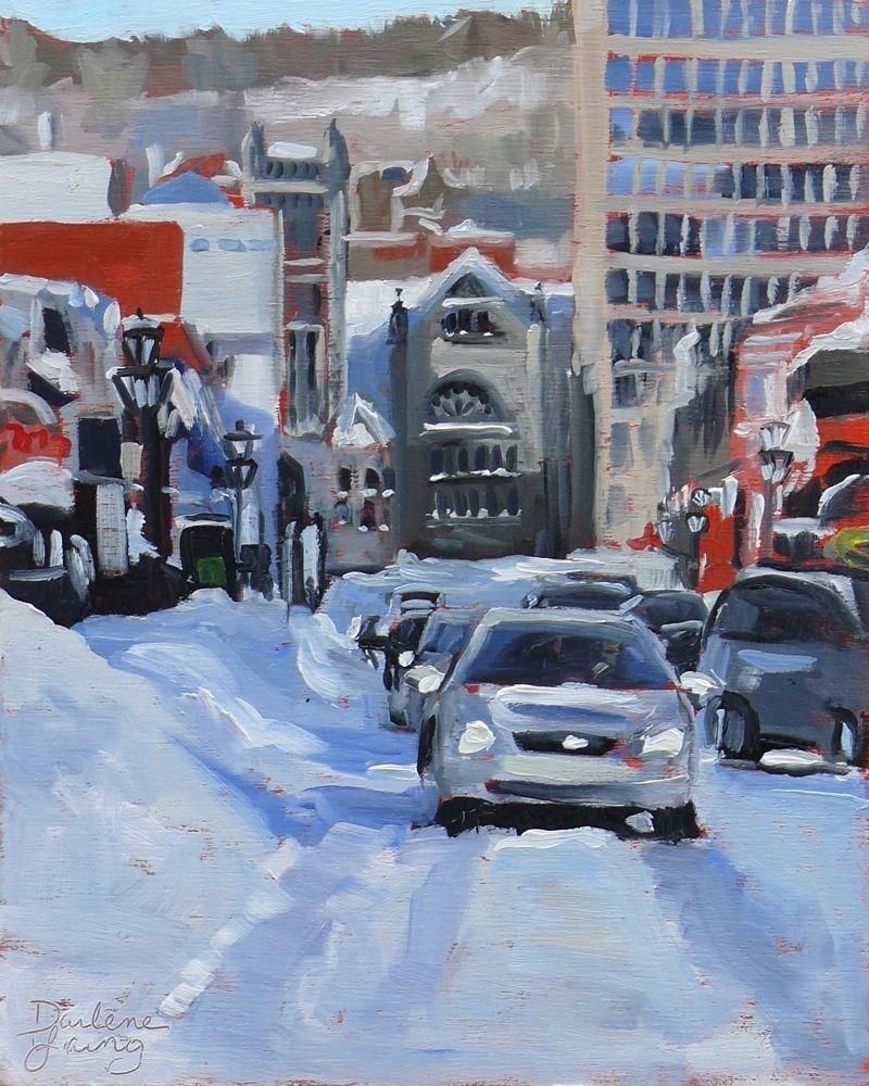 """""""579 D'hiver de Montréal Scène de la rue Crescent"""" original fine art by Darlene Young"""