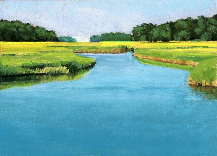 """Clear Day salt marsh pastel landscape painting"" original fine art by Ria Hills"