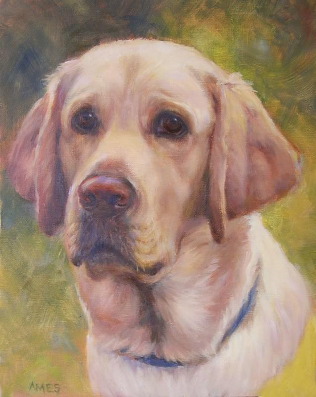 """PJ the Service Dog"" original fine art by Debra Ames"
