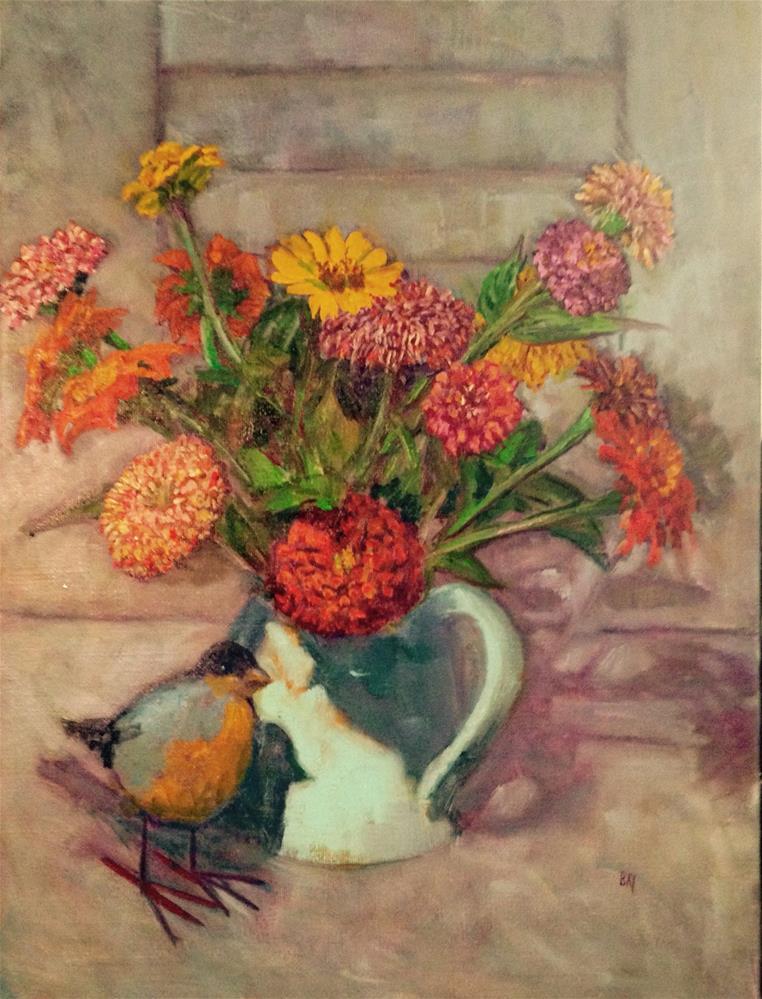 """MOUNTAIN BIRD with ZINNIAS"" original fine art by barbara yongue"