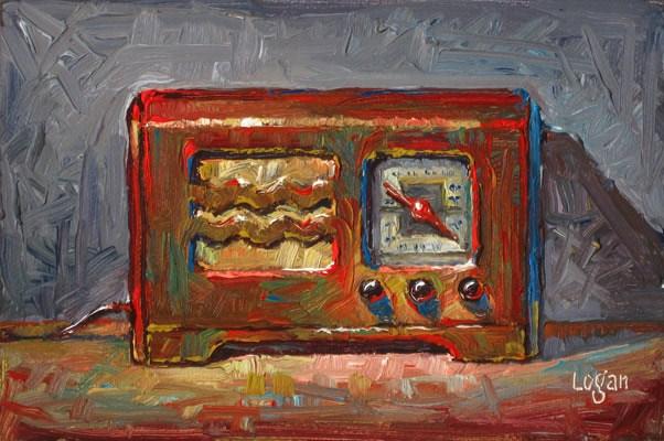 """HJ's Philco Radio"" original fine art by Raymond Logan"