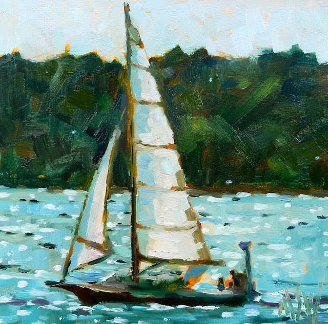 """""""Skimming Aquidneck Island 6x6 oil on board This painting was all about catching the light in the sails."""" original fine art by Mary Sheehan Winn"""