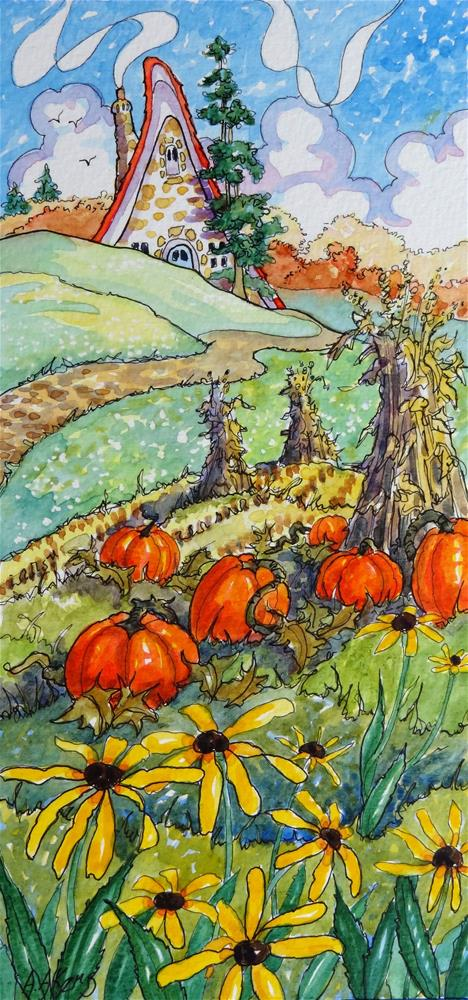 """""""On the Cusp of Autumn Storybook Cottage Series watercolor Painting"""" original fine art by Alida Akers"""