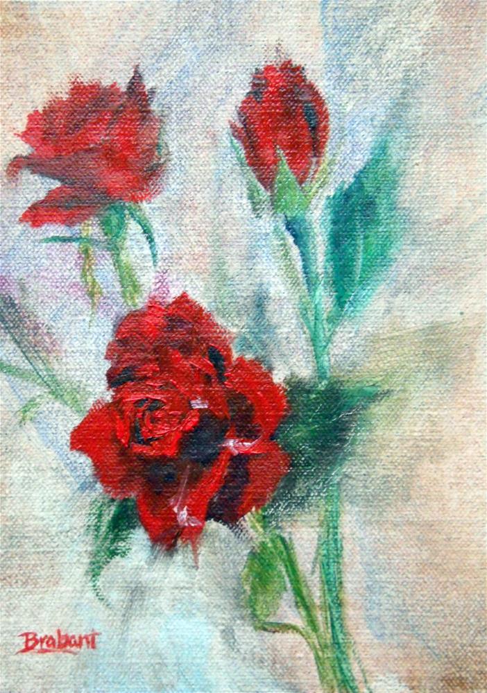 """Red Spray Roses Study"" original fine art by Jill Brabant"