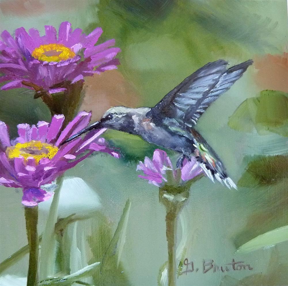 """Zinnias and Hummer"" original fine art by Gary Bruton"