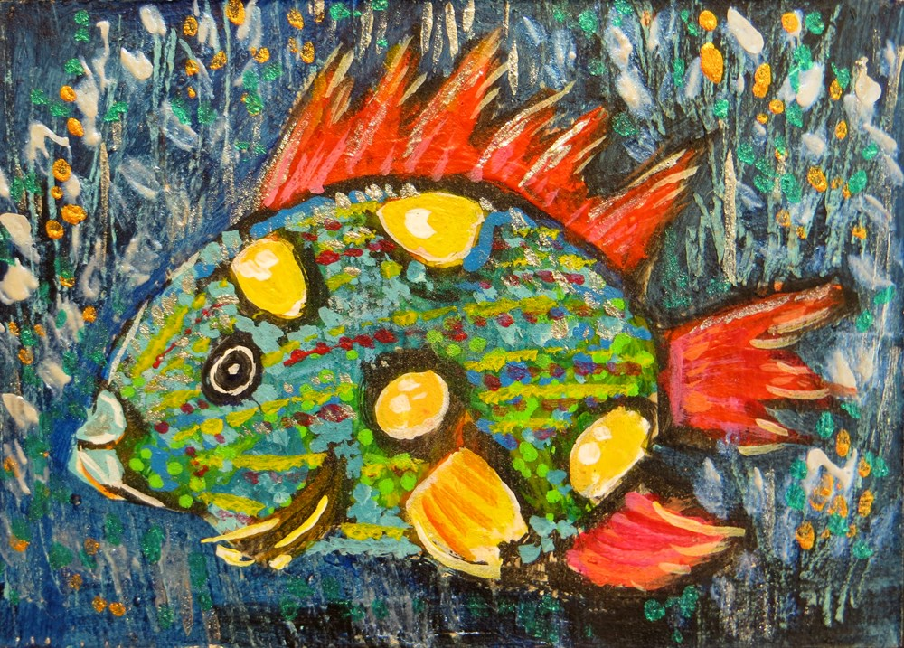 """Green Fish with Red Fins - ACEO"" original fine art by Rhett Regina Owings"