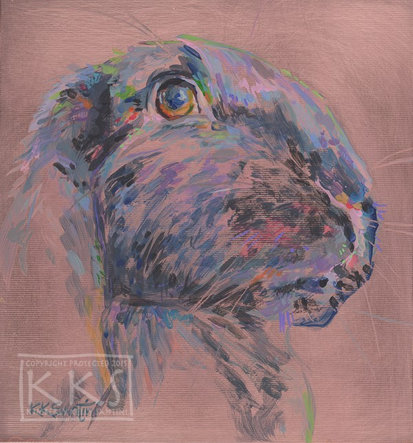 """""""Luna Lapin, a painting on copper"""" original fine art by Kimberly Santini"""