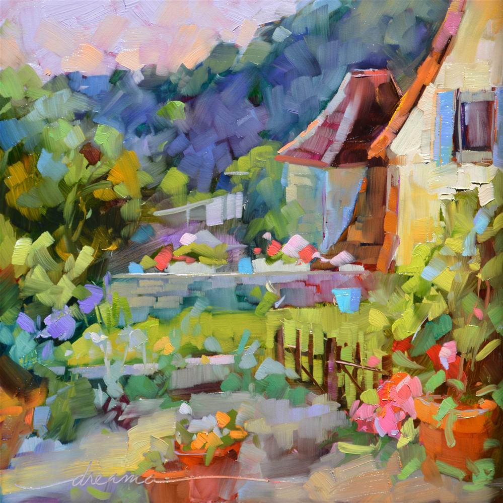 """Backyard France"" original fine art by Dreama Tolle Perry"