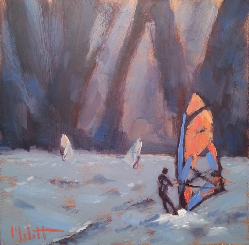 """Windsurfing Oil Painting Original Impressionism"" original fine art by Heidi Malott"