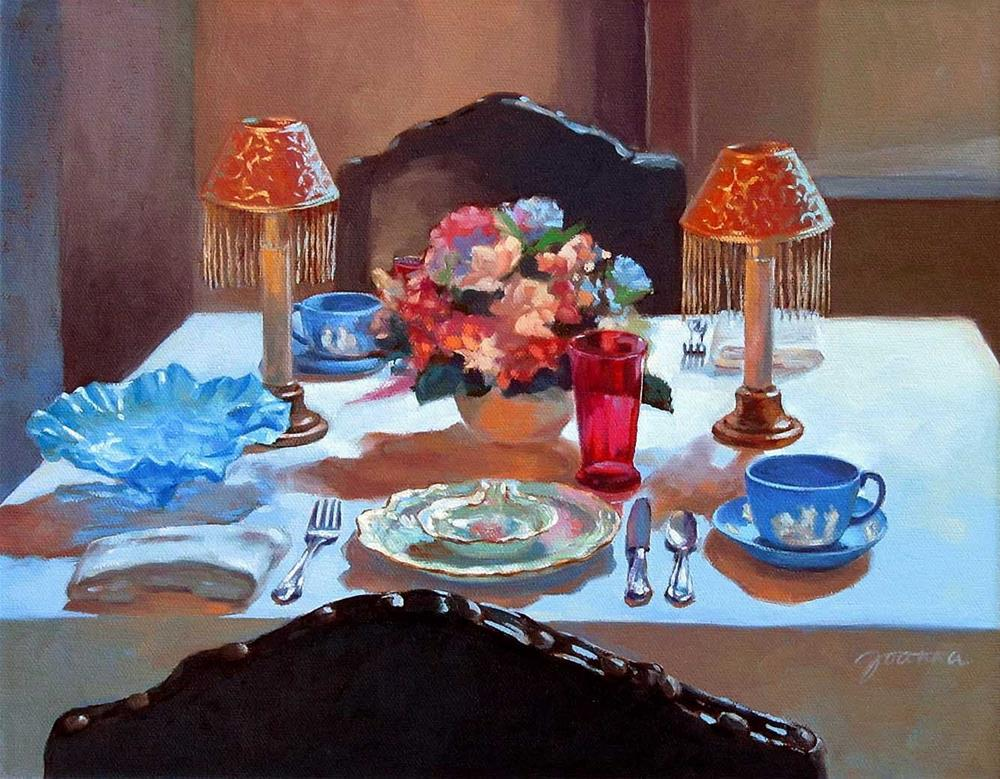 """""""Table For Two--Painting of A Classical Dinning Table"""" original fine art by Joanna Bingham"""