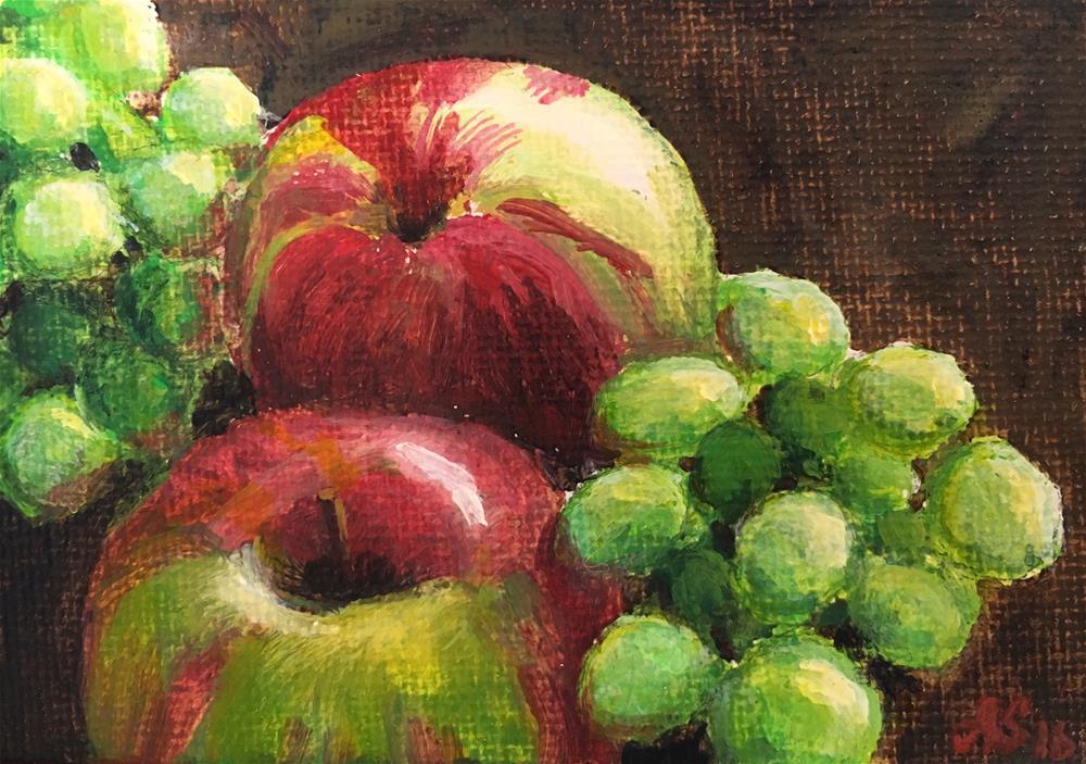 """Grapes and apples"" original fine art by Anna Starkova"