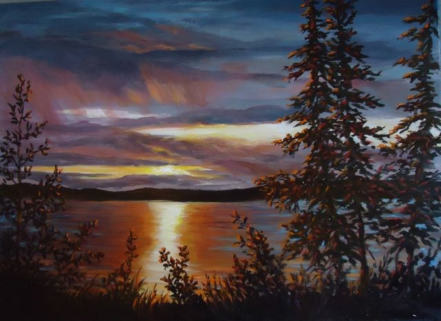 """Sunset, Fox Lake Yukon"" original fine art by Jackie Irvine"