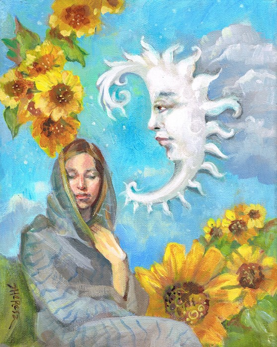 """The Moon and Sunflowers"" original fine art by Theresa Taylor Bayer"