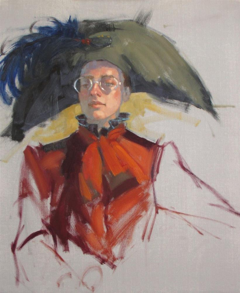 """Napoleon meets Kirstyn  20in x 16in. oil"" original fine art by Claudia Hammer"