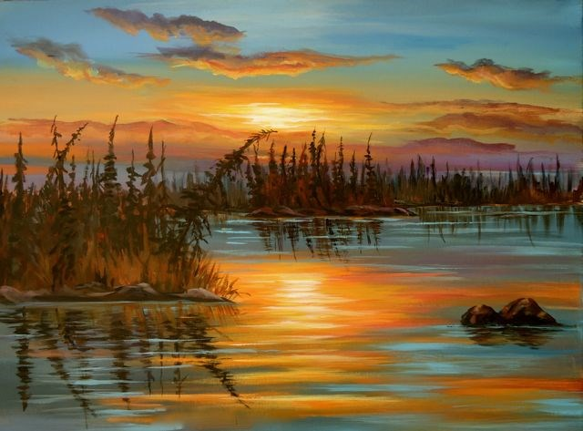 """Dragon Lake 2 Sunset, Yukon"" original fine art by Jackie Irvine"