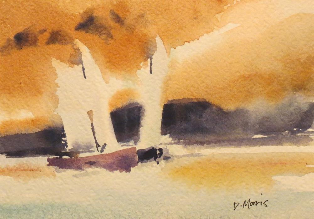"""""""Tall Sails at Sunset"""" original fine art by Dann Morris"""