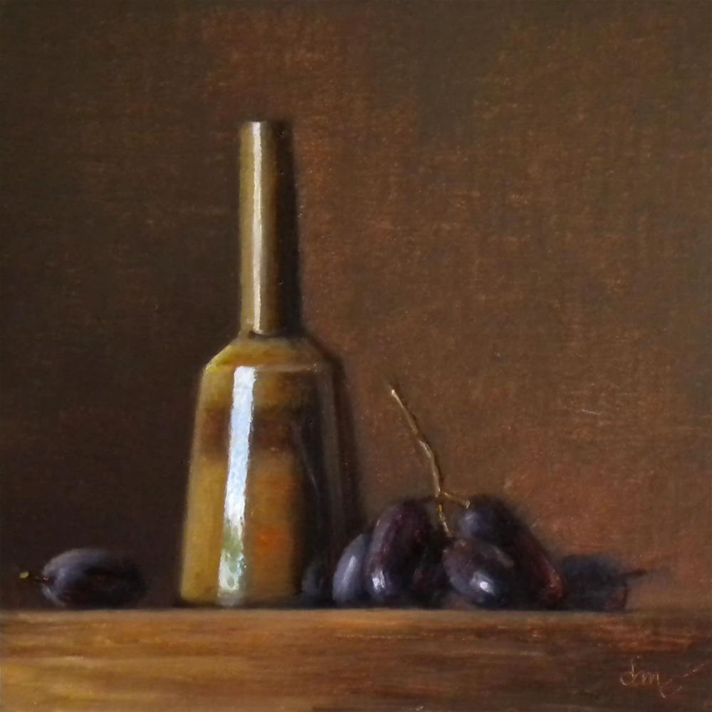 """""""Amber Mallet Bottle with Muscato Grapes"""" original fine art by Darla McDowell"""