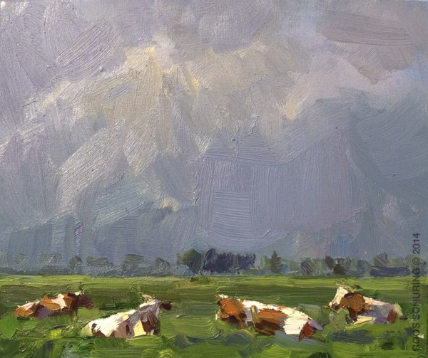 """Cows Warm Blue Day"" original fine art by Roos Schuring"
