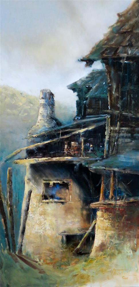 """Mountain Farmstead"" original fine art by Christa Friedl"