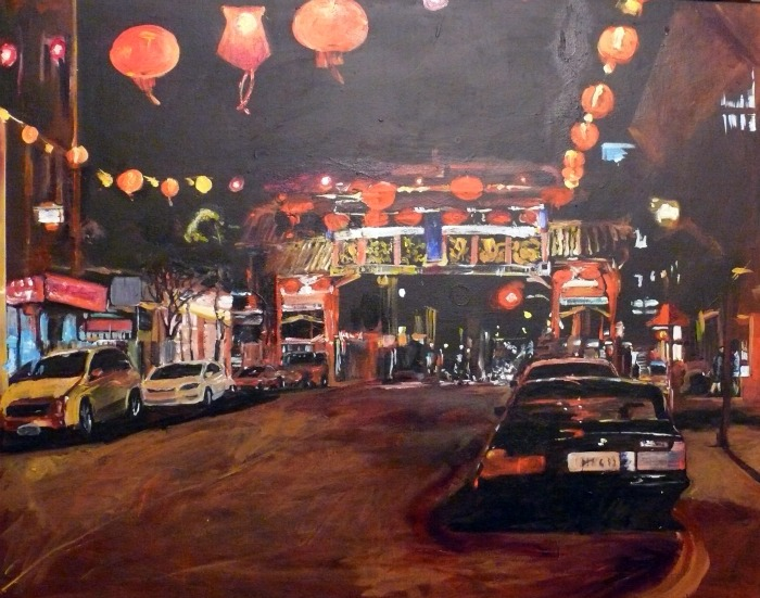 """""""China Town Night, acrylic on canvas, 80x100cm"""" original fine art by Darlene Young"""