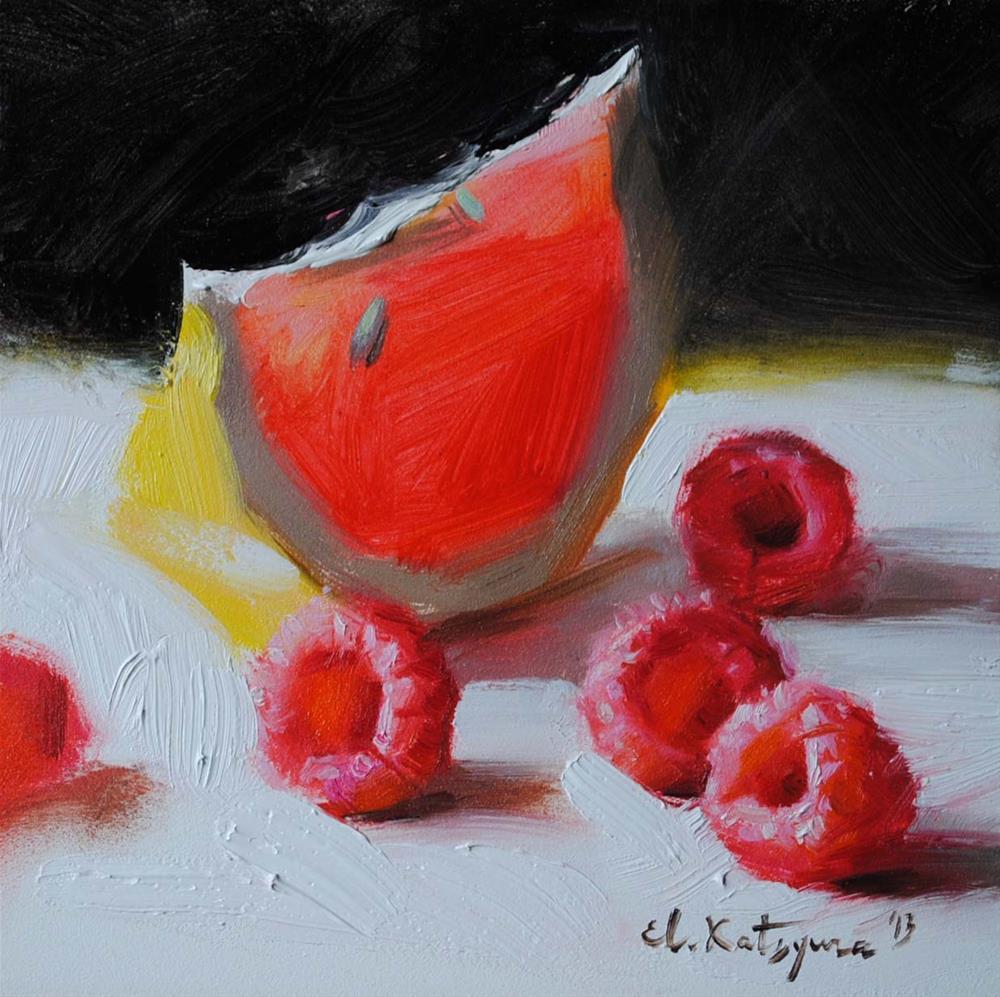 """Raspberries from My Garden"" original fine art by Elena Katsyura"