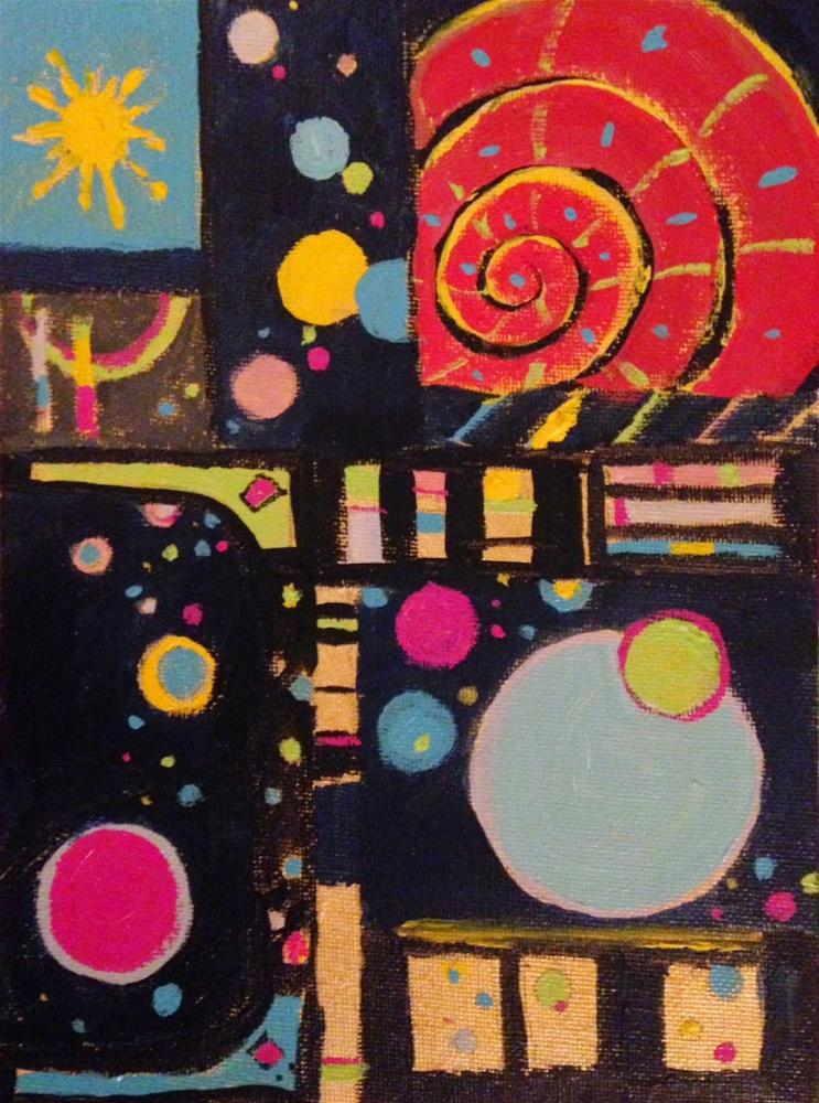 """Party In The Night Sky, 8x6 inch acrylic Painting by Kelley MacDonald"" original fine art by Kelley MacDonald"