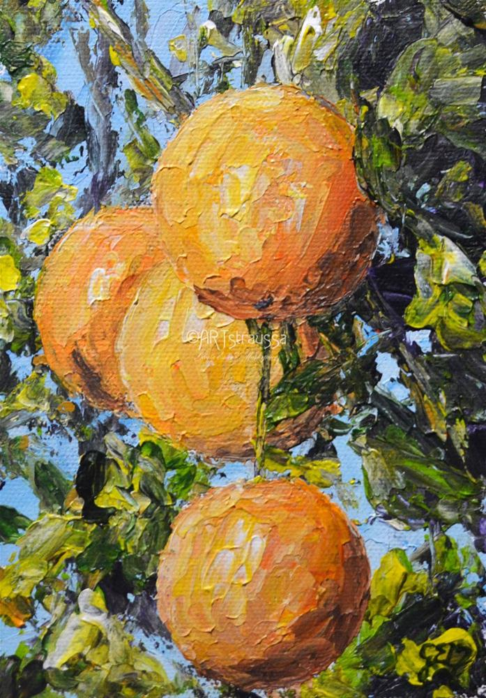 """Oranges Hanging Out (Charity)"" original fine art by Gloria Ester"