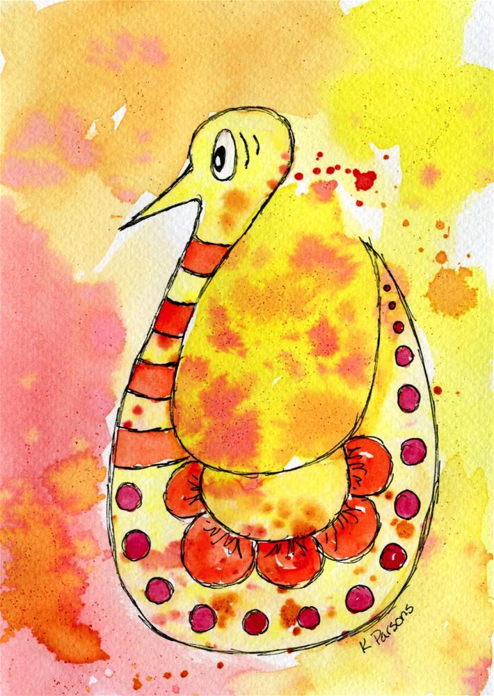 """Super Surprised Wacky Bird"" original fine art by Kali Parsons"