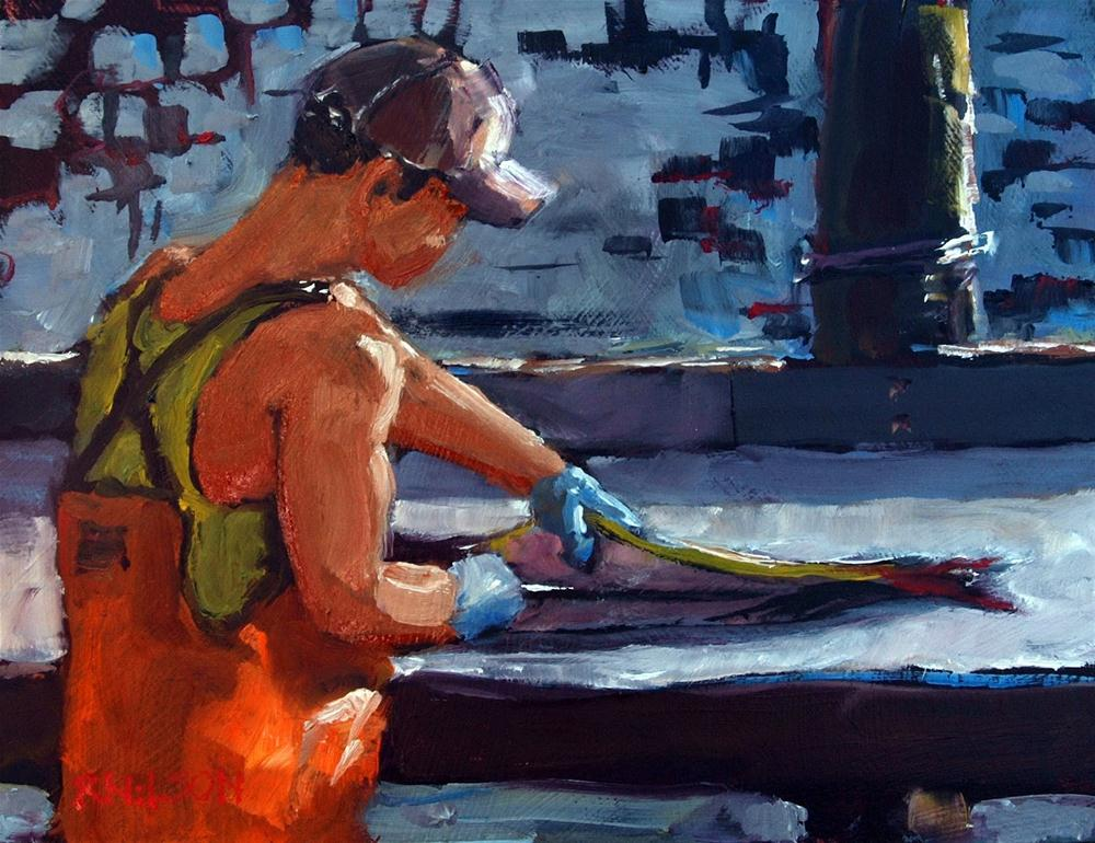 """Cleaning the Catch"" original fine art by Rick Nilson"