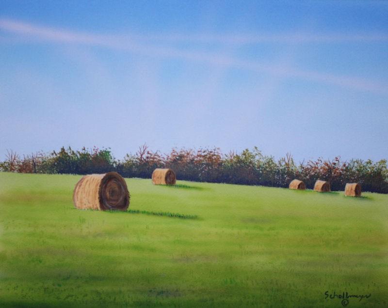 """""""Hayfield North of Town"""" original fine art by Fred Schollmeyer"""