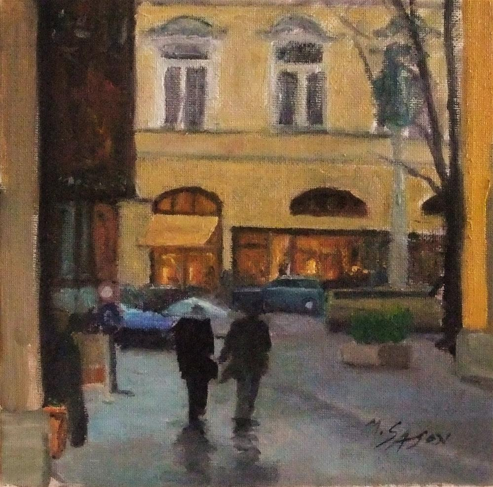 """Rainy day shopping"" original fine art by Michael Sason"