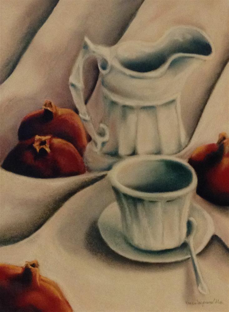 """Pomegranates with cup and saucer"" original fine art by Karen Collins"