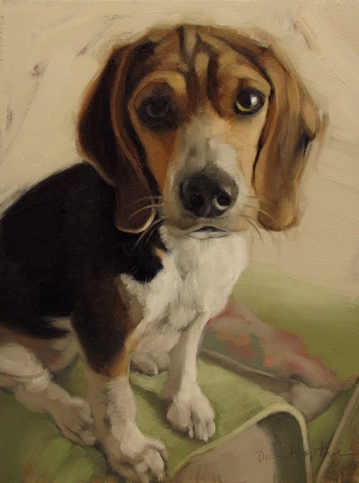 """""""Hoeptner Year in Review plus Molly the Beagle"""" original fine art by Diane Hoeptner"""