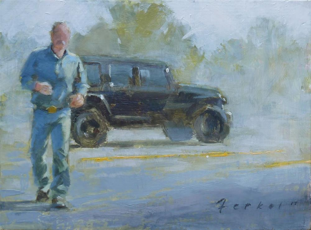 """Study - Parking Lot Wrangler"" original fine art by Ron Ferkol"