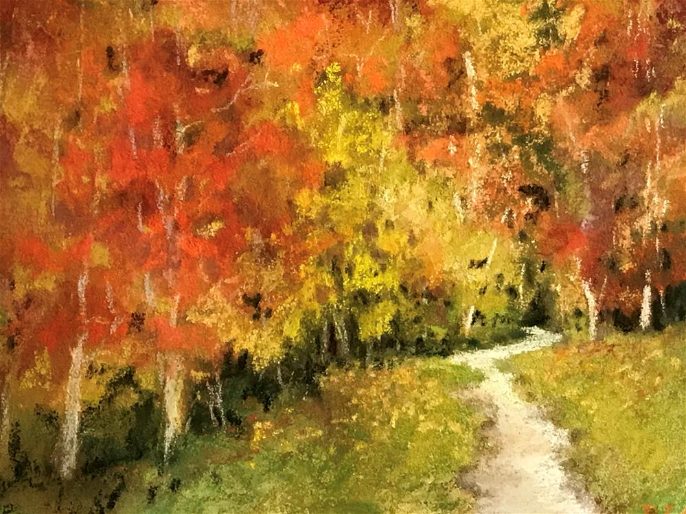 """walk into the woods in the fall"" original fine art by Betty Argiros"