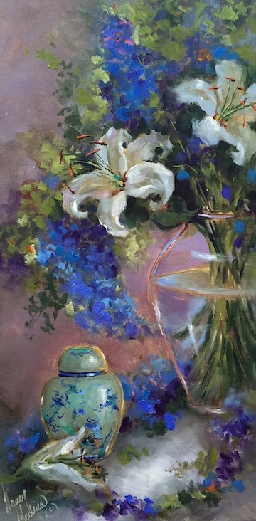 """""""Ginger Jar Lilies and the Ghost of Windswept Manor"""" original fine art by Nancy Medina"""