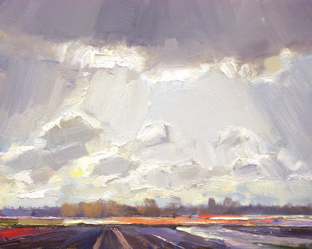 """""""Landscape spring #15 Bright sky and bulbfields red purple orange"""" original fine art by Roos Schuring"""