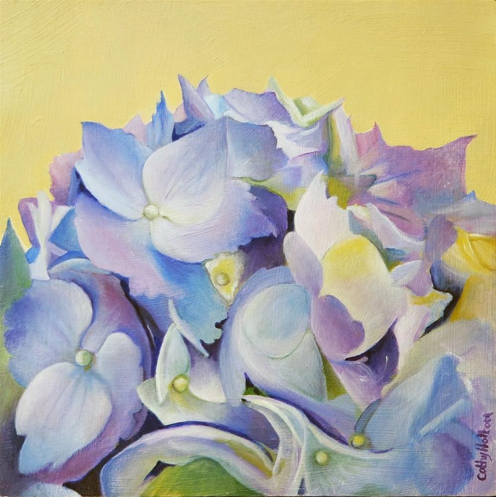 """""""Blue Hydrangea"""" original fine art by Cathy Holtom"""
