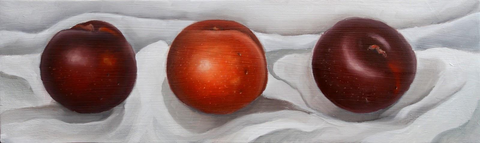 """Three Plums"" original fine art by Clair Hartmann"