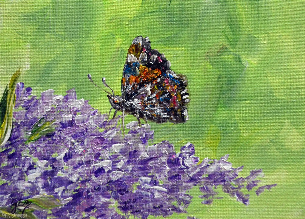 """Buddleia Admiral"" original fine art by Gloria Ester"