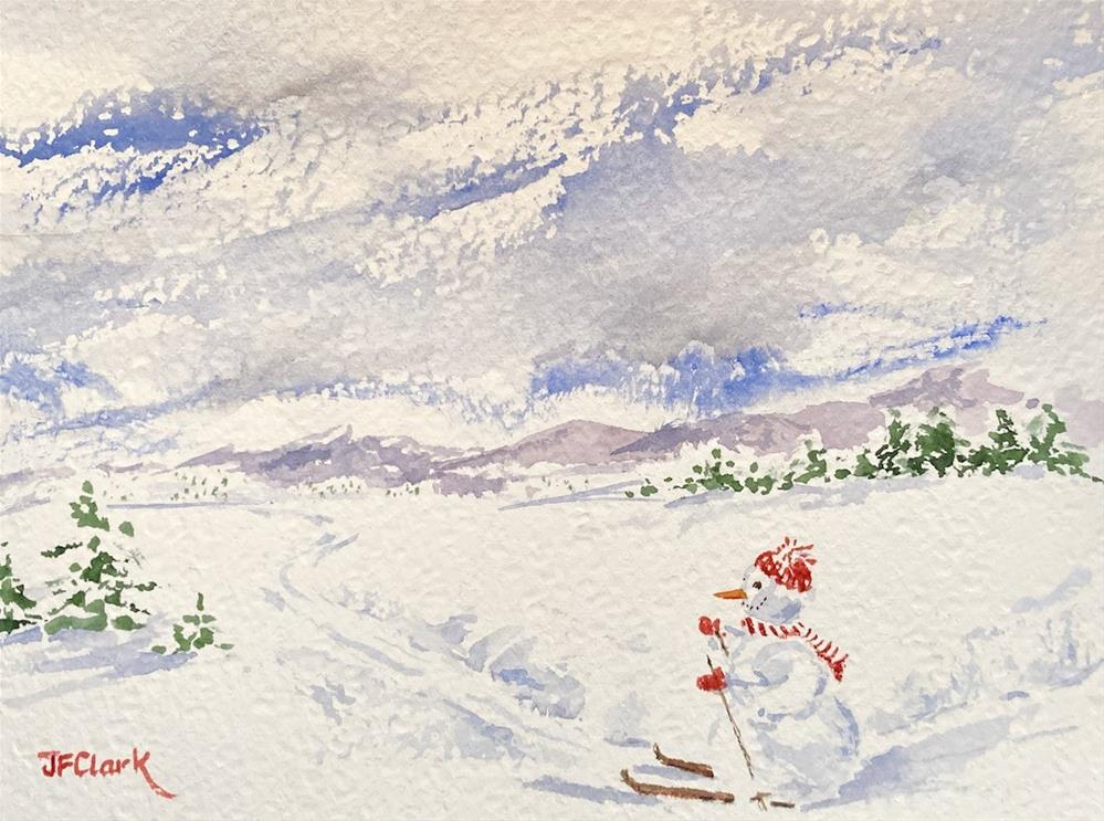 """Frosty Goes Skiing"" original fine art by Judith Freeman Clark"