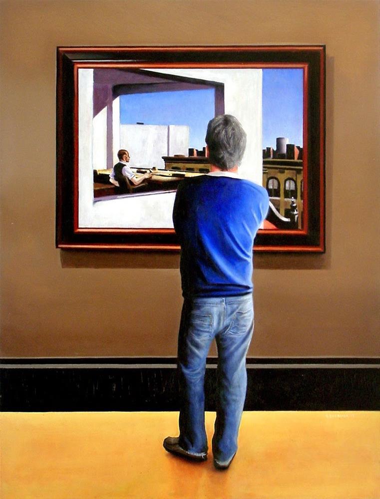 """Self Portrait With Office In A Small City By Edward Hopper"" original fine art by Gerard Boersma"