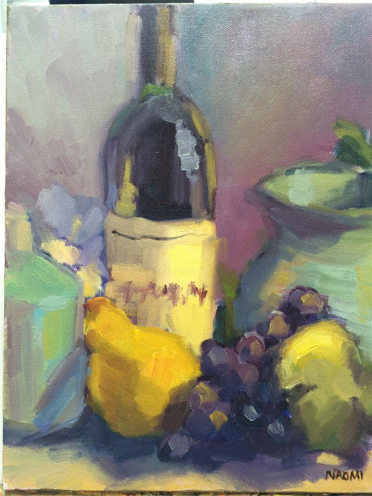 """Wine bottle and fruits"" original fine art by Naomi Bautista"