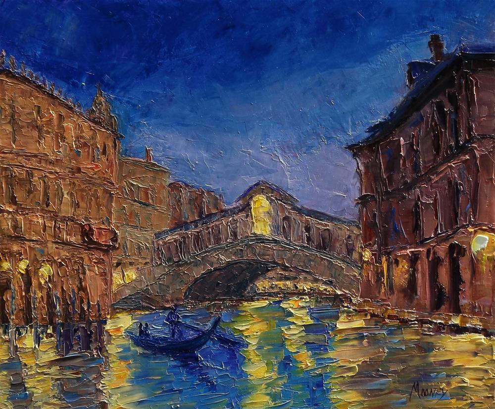 """Venice Nocturne Rialto Bridge"" original fine art by Linda mooney"