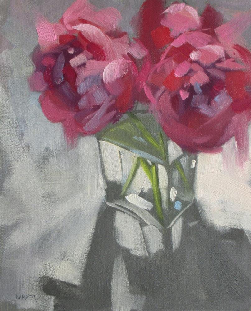 """Peonies in Pink  8in x 10in  oil"" original fine art by Claudia Hammer"