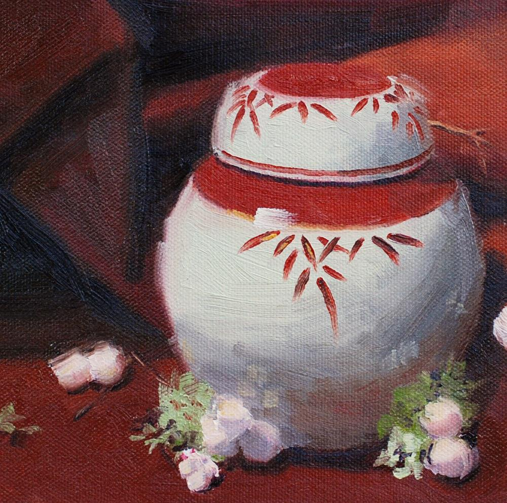 """""""Japanese Jar with Snowberries and Moss"""" original fine art by Susan McManamen"""