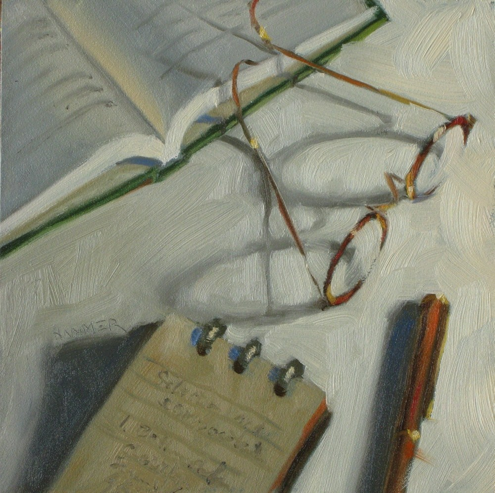 """""""Taking notes  6x6 oil"""" original fine art by Claudia Hammer"""